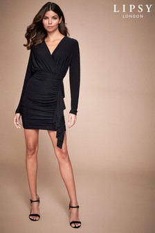 Lipsy Long Sleeve Ruched Mini Dress