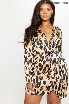 PrettyLittleThing Plus Satin Wrap Dress