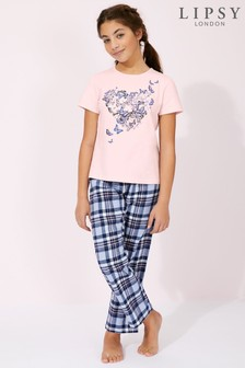 Lipsy Girl Short Sleeve Check Bottom PJ Set