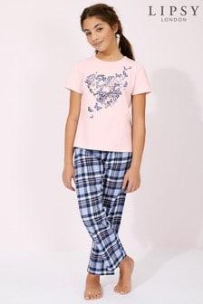 פיג'מה של Lipsy בנות עם שרוול קצר ומכנסיים משובצים