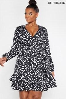 PrettyLittleThing Curve Spot Frill Wrap Dress