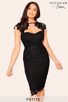 Sistaglam Loves Jessica Petite Sweetheart Neck Midi Dress