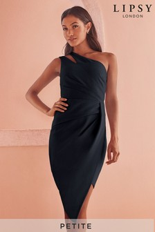 Lipsy Petite One Shoulder Pleated Asymmetric Midi Dress