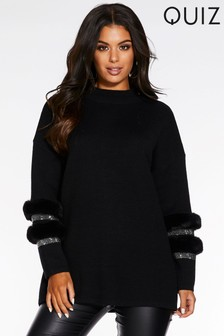Quiz Knit Diamanté Faux Fur Trim High Neck Jumper