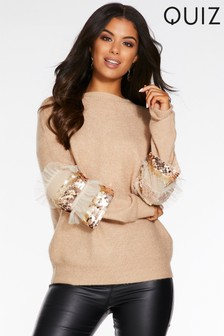 Quiz Knit Sequin Tulle Detail High Neck Jumper
