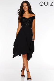 Quiz Sequin Bardot Knot Front Hanky Hem Dress