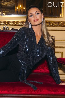 Quiz x Sam Faiers Sequin Long Sleeve Wrap Front Palazzo Jumpsuit