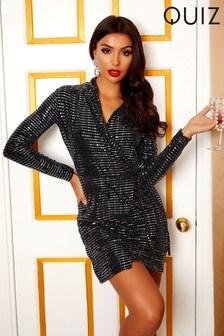 Quiz x Sam Faiers Sequin Long Sleeve Wrap Front Dress