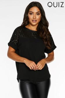 Quiz Sequin Embellishment Boxy Fit Top