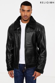 Religion Leather Shearling Jacket