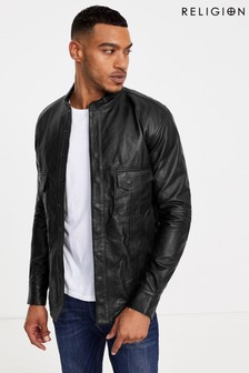 Religion Leather Biker Jacket