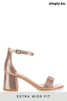 Simply Be Extra Wide Fit Diamanté Block Heel Sandal