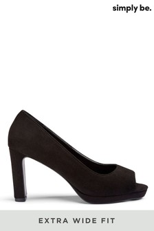 Simply Be Extra Wide Fit Peep-Toe Court Shoe