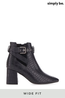 Simply Be Wide Fit Strap Heeled Ankle Boot