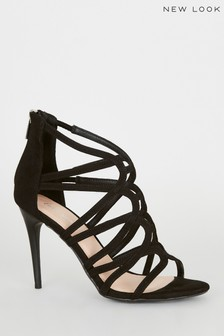 New Look Suedette Swirl Strappy Stiletto Heel Sandals