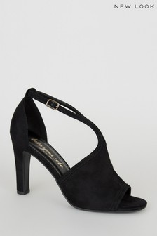 New Look Suedette Peep Toe Block Heels