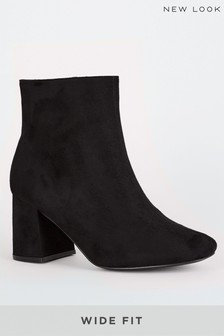 New Look Wide Fit Suedette Flared Heel Ankle Boots