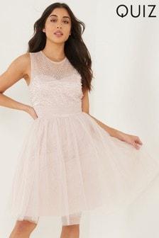 Quiz Embellished Mesh Sweetheart Skater Style Dress