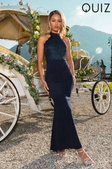 Quiz Lace Scallop Detail High Neck Maxi Dress