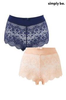 Simply Be 2 Pack Lottie Lace Matching Briefs