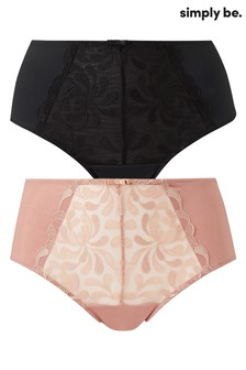 Simply Be Palm Embroidery Midi Brief - Pack Of 2