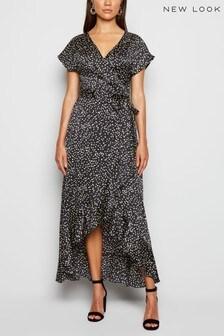 New Look Satin Spot Ruffle Trim Midi Dress