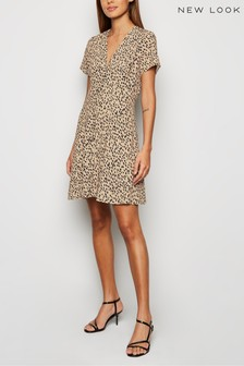 New Look Abstract Spot Button Front Tea Dress