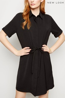 New Look Twill Drawstring Waist Shirt Dress