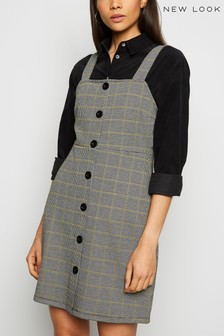 New Look Check Button Pinafore Dress
