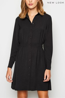 New Look Elasticated Waist Mini Shirt Dress