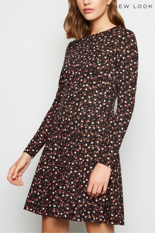 New Look Ditsy Floral Soft Touch Long Sleeve Dress