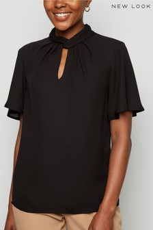 New Look Chiffon Twist Pleat Neck Blouse