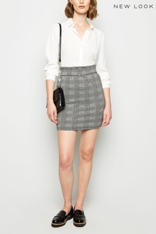 New Look Belted Check Mini Skirt