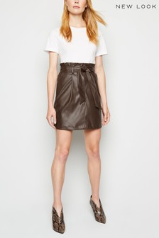 New Look Leather Look High Waist Skirt