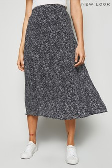 New Look Floral Chiffon Midi Skirt