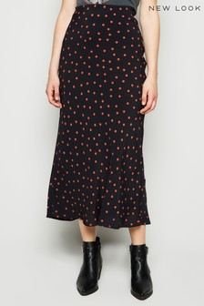 New Look Spot Bias Cut Midi Skirt