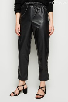 New Look Coated Leather Look Tie Waist Joggers