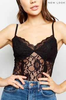 New Look Sweetheart Neck Lace Bodysuit
