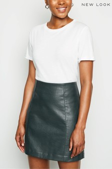 New Look Leather-Look Mini Skirt