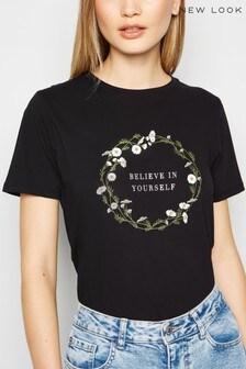 New Look Believe In Yourself Slogan Tee