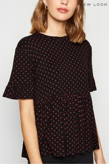 New Look Spot Frill Sleeve Peplum Top
