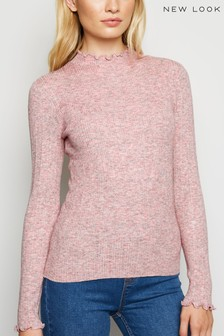 New Look Marl Ribbed Frill Trim Jumper