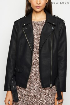 New Look Leather Look Oversized Biker Jacket