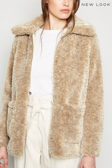 New Look Patch Pocket Teddy Coat