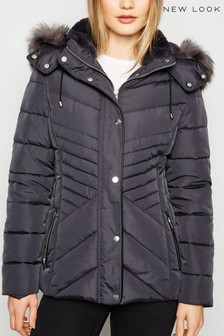 New Look Faux Fur Trim Fitted Padded Jacket