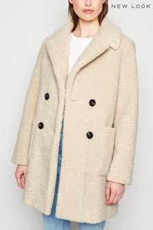 New Look Double Breasted Longline Teddy Coat