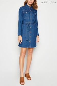 New Look Denim Tie Waist Shirt Dress