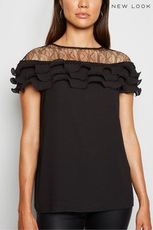 New Look Lace Panel Pleated Ruffle Blouse
