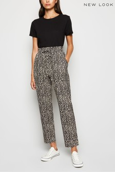 New Look Animal Print Soft Touch Joggers