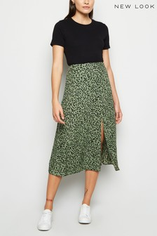 New Look Spot Side Split Midi Skirt